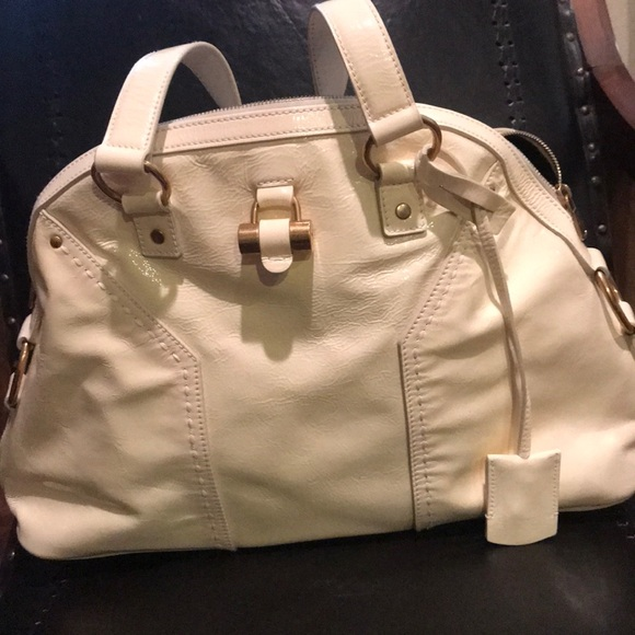 8001023f6c2 Yves Saint Laurent Bags   Ysl Muse Bag White Patent Leather Large ...